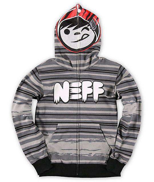 Neff Boys Configure Grey Stripe Full Zip Face Mask Hoodie