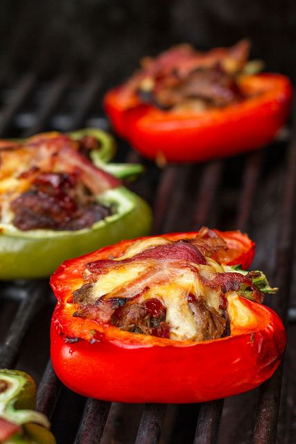 Pulled pork stuffed peppers topped with Gouda and bacon, done on the BBQ