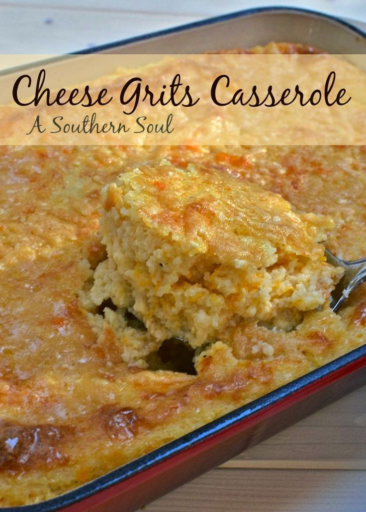 Cheese Grits Casserole - Made 1/2 recipe in 8x8 in glass dish (had to use 2 eggs) - leftovers would be yummy w/a fried egg on top!