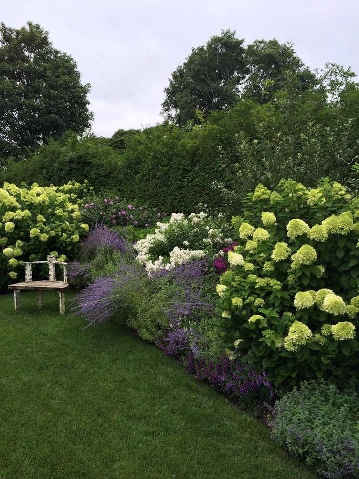 hydrangea border landscape traditional with flowers wooden outdoor flower pots