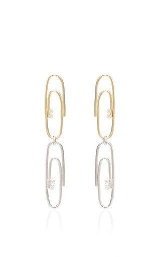 Double Paperclip Earrings With Diamonds by Lauren Klassen for Preorder on Moda Operandi