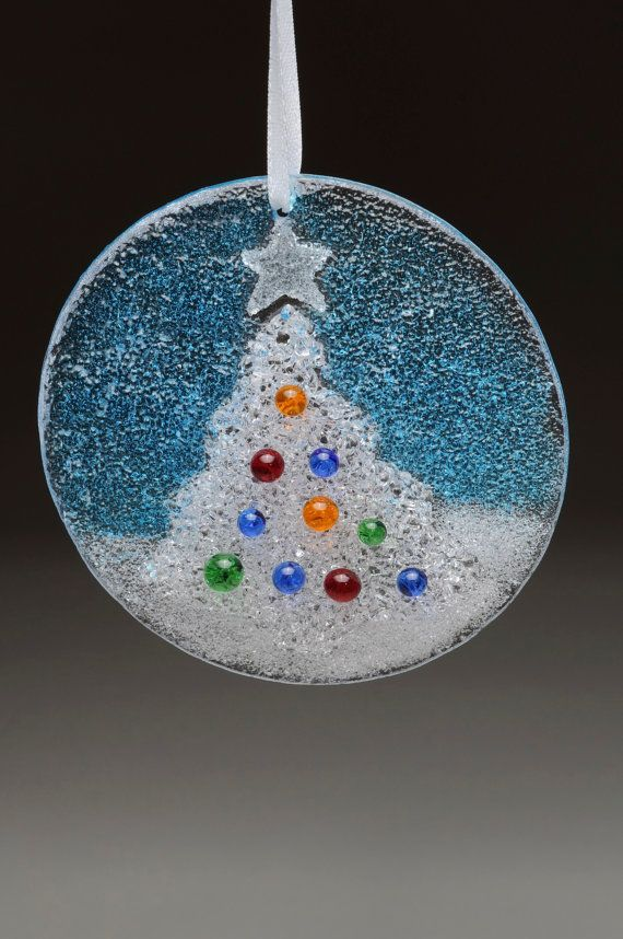 Special 2 Christmas Holiday Ornaments Fused Glass, Each Comes in Gift Box