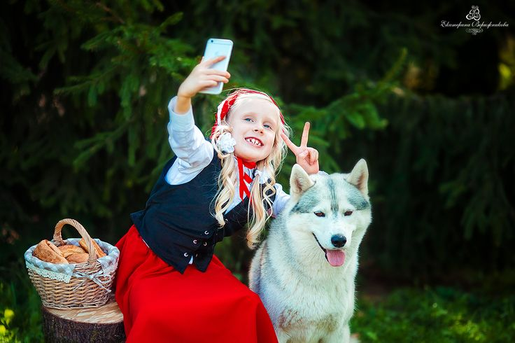 little red riding hood, the girl and the wolf, husky, photo shoot, photo verizhnikova
