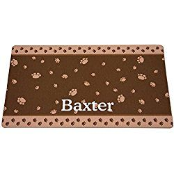 Drymate Brown & Tan Paw Border Personalized Dog Placemat