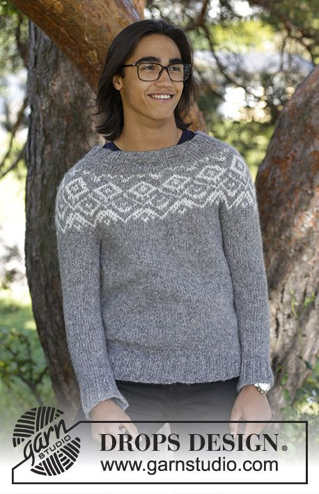 Ashbury Park - Men's knitted jumper with round yoke and multi-coloured Nordic pattern, worked top down. Sizes S - XXXL. The piece is worked in DROPS Air. Free knitted pattern DROPS 185-12