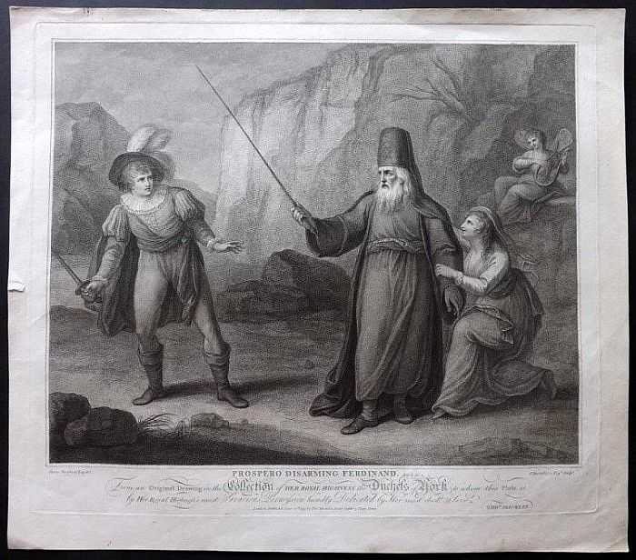 "Bartolozzi, Francesco after Bunbury, Henry 1793 ""Prospero Disarming Ferdinand"""