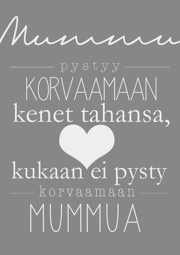 *ÄITIENPÄIVÄ + MUUT PERHELAHJAT* - Isovanhemmille (myös Äitienpäivälahjat) - Juliste A4: Mummu pystyy korvaamaan... (tai muu haluamasi teksti - Mussukat.fi