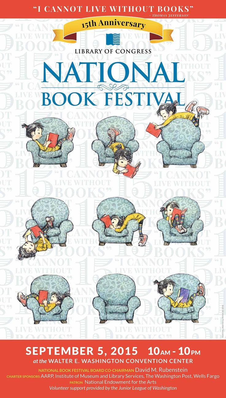 2015 Library of Congress National Book Festival Poster. Poster Artist: Peter de Sève.