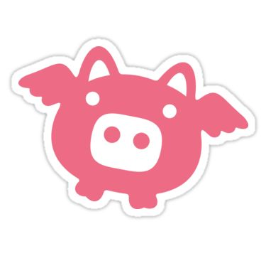 Flying Pink Pig Stickers  The ancestor of the flying pig is the wild flying boar. Domesticated pig is one of the most numerous large mammals on the planet, but you can't say it about flying pigs. There aren't many who saw them. There aren't many who survived to tell the tale. Flying pigs always live with their heads high in the clouds