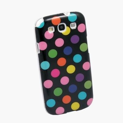 Black Colorful Polka Dots TPU Case Back Cover for Samsung Galaxy S3 i9300