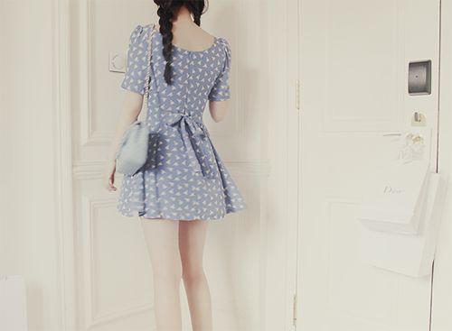 polka dot.: Asian Fashion, Spring Dresses, Polka Dots, Pastel Blue, Bluebirds Style, Dresses Fashion, Ulzzang Kfashion, Korean Fashion, Springsumm Dresses