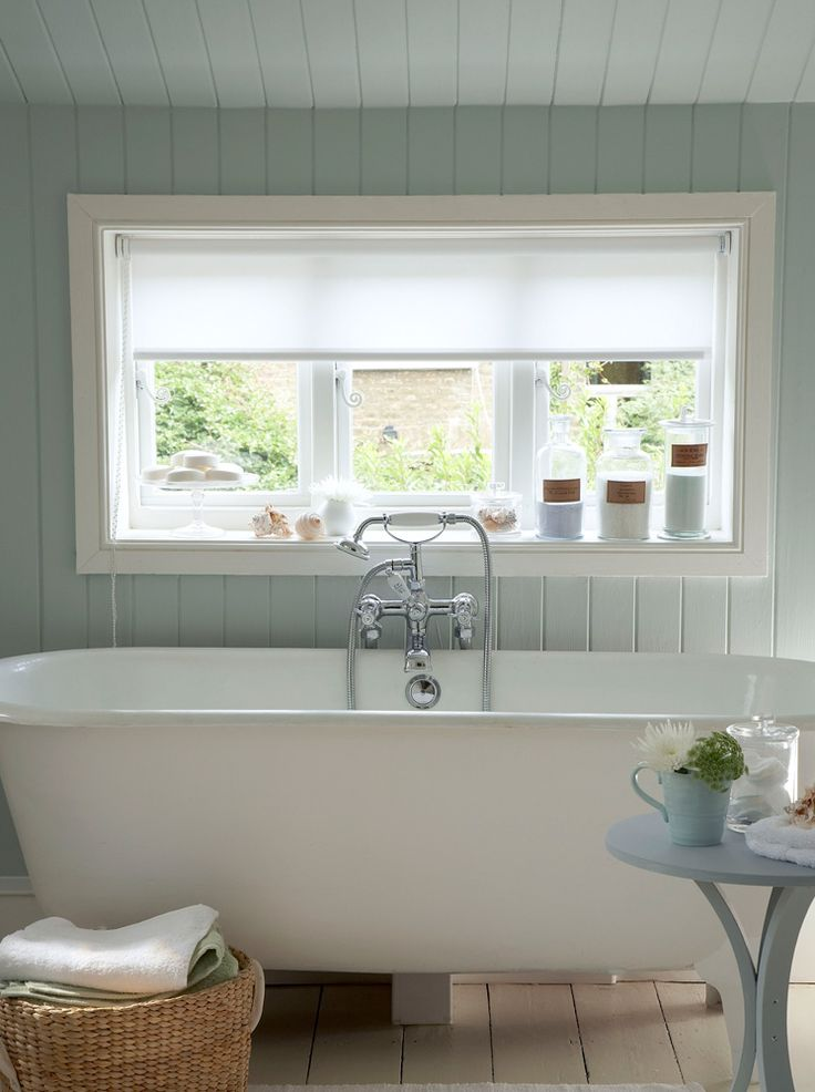 Farrow & Ball bathroom - Two people can fit in this thing;perfect hubby and I.  :-)