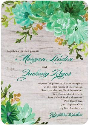 Mint floral wedding invite design
