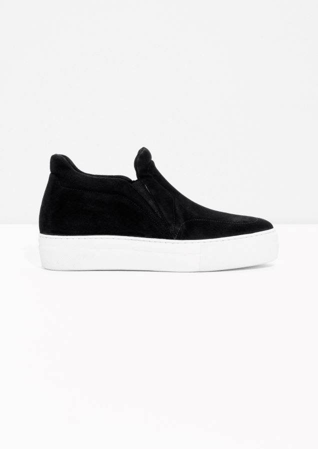 & Other Stories image 1 of Slip On Suede Skaters in Black
