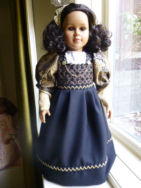 "Portuguese Empire:  Brazilian Beauty 23"" OOAK handpainted MyTwinn doll in black/gold late colonial period dress"
