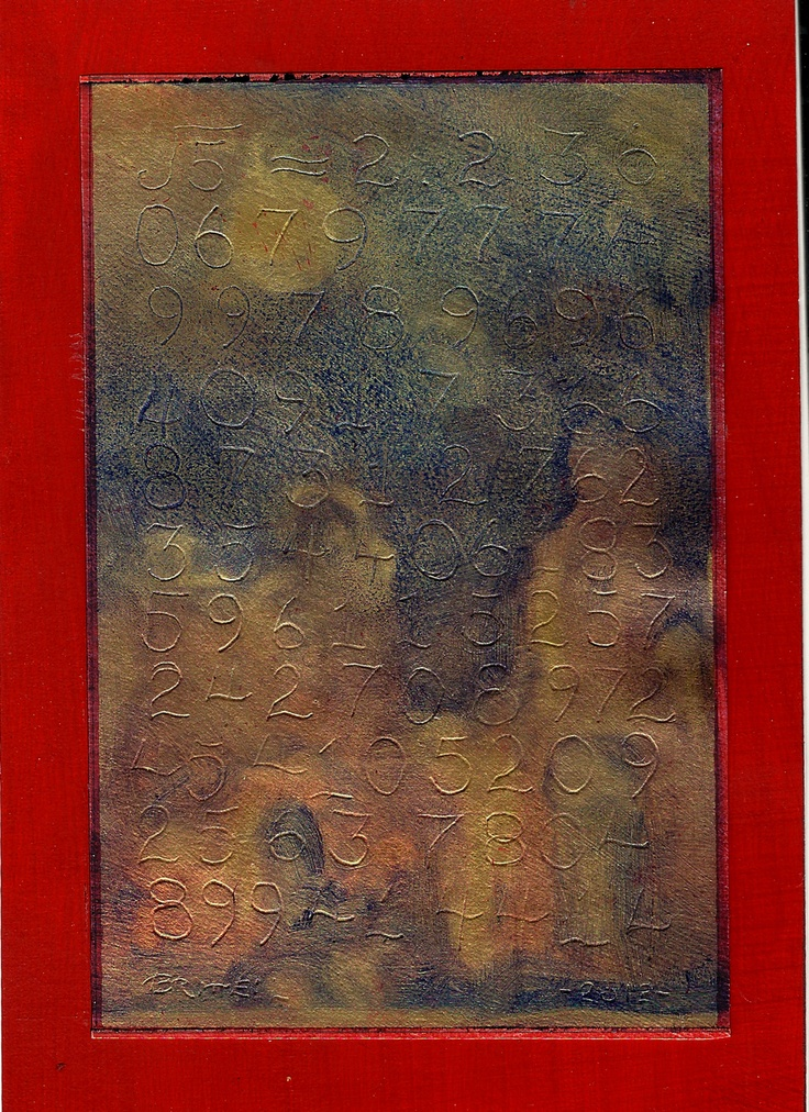 """312. """"Nocturnal Landscape over the Square root Of 5"""" oil and 23k gold on paper, 6"""" x 4"""", 2012, Richard Britell, Gilded And engraved homework series"""
