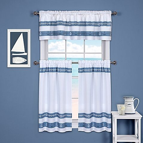 Ships And Chambray Kitchen Window Curtain Tier And Valance. Kitchen Window  CurtainsKitchen WindowsNautical ...