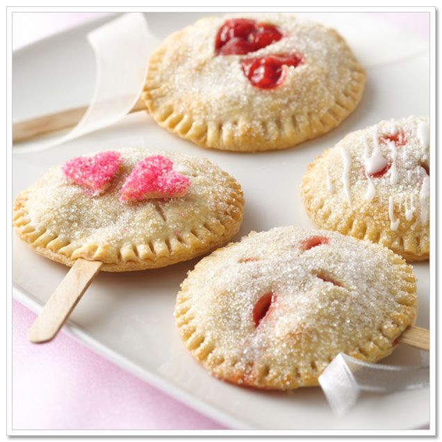 Pie pops made from Store-bought pie crust.  Easy favors!