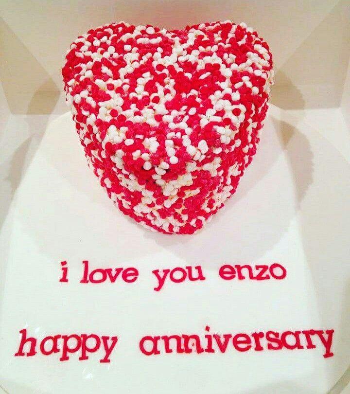 Love heart cake. #anniversary #love #confetti #confetticake #whiteandred #valentines #cake