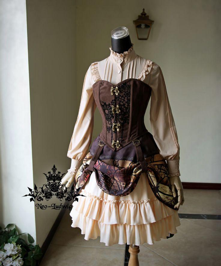 Steampunk saia de cintura alta imprimir Belt Buckle Metal Lolita saia em Saias de Roupas e Acessórios no AliExpress.com | Alibaba Group
