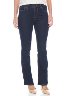 Kim Rogers Women's Petite Jones Straight Jean - Short Length - Firehouse Wash - 16P