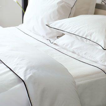 Union Square Plain White 300TC bedlinen with piped black border from Designers Guild King Duvet Cover £97.75