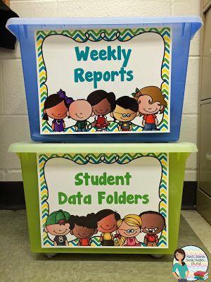 Classroom Organization: Student Data Folders and Weekly Reports - FREEBIE