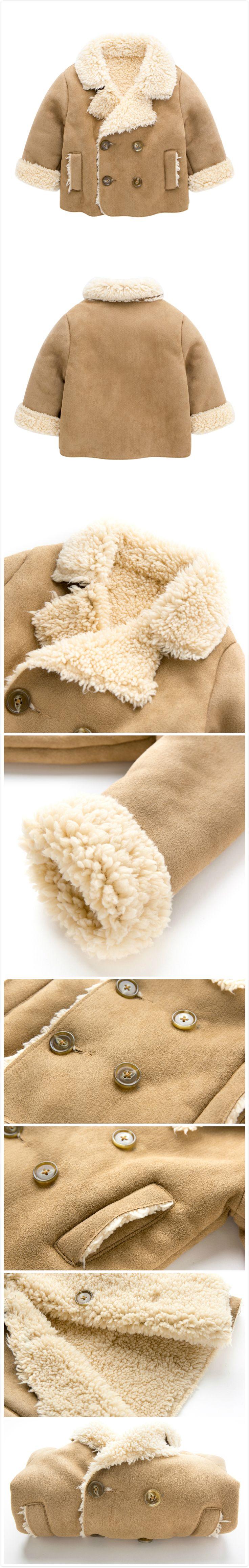 Khaki Thicker Velvet Baby Boy Double-Breasted Winter Warm Coat
