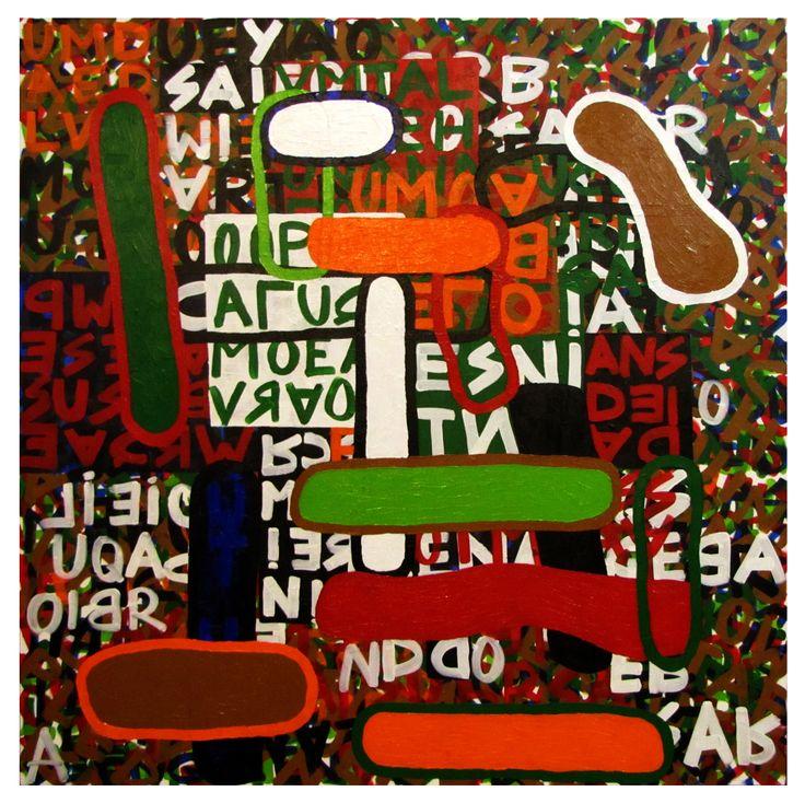 Palavras cruzadas II  acrilica s/ tela  2012 100x100 cm #rodrigomachado #contemporaryart