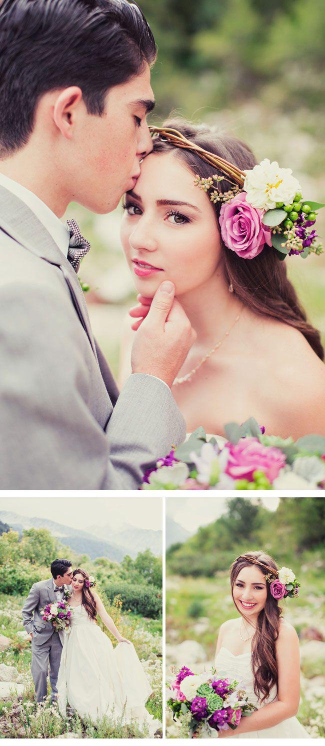 LOVELY PRE-WEDDING SHOOT, photo: Stephanie Sunderland. Loveeee those flowers in her hair.
