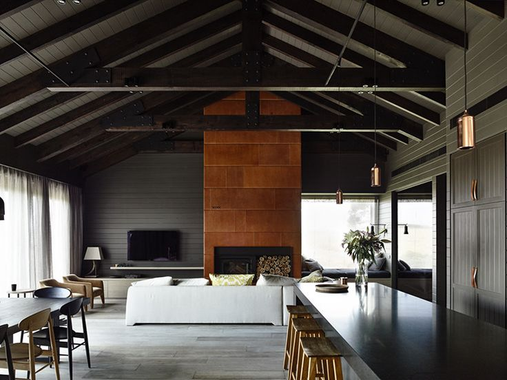 What a gorgeous moody feeling for this Australian farm house.  I love all of the natural tones with the dark grey and simple clean lines.  Great inspiration for