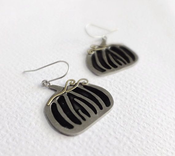 Pumkin  Earrings halloween jewelry black by SeasonsDesignJewelry, $77.00