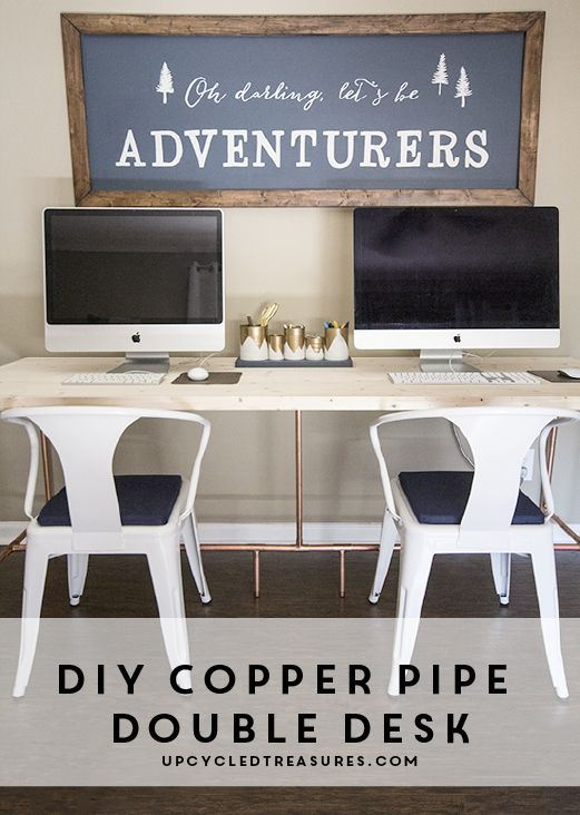 Learn how to build your own desk using copper pipe! UpcycledTreasures.com #industrialchic