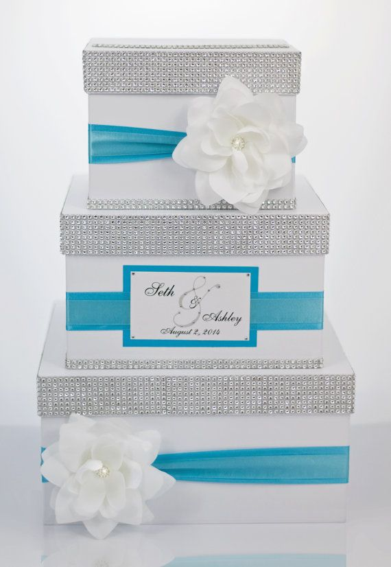 Wedding Card box / Card holder / Wedding money box - 3 tier - Personalized - White and tiffany