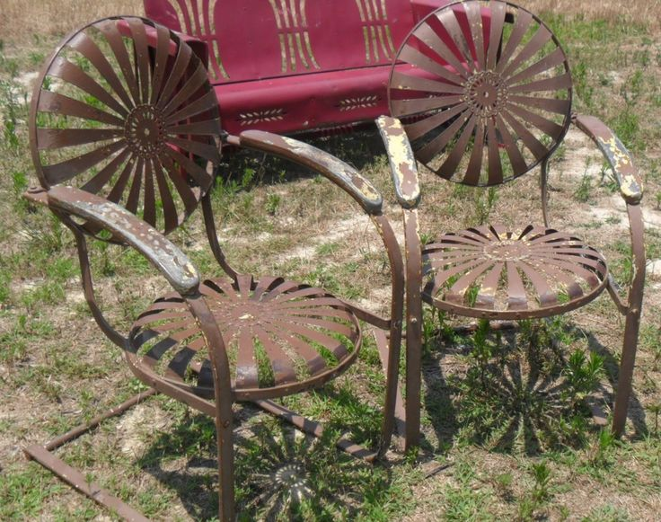 $450 Vintage Metal Chairs And Retro Patio Tables - Vintage Gliders