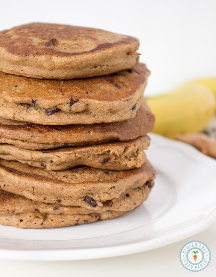 These delicious gluten free, vegan peanut butter banana chocolate chip oatmeal pancakes are fluffy, moist and oh-so-decadent!