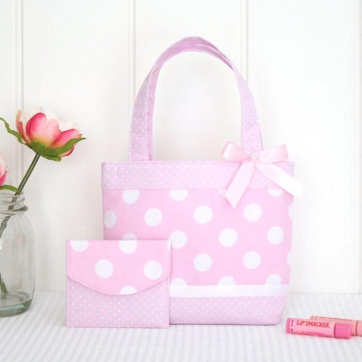 Little Girls Bag & Purse Set - Pink Spot