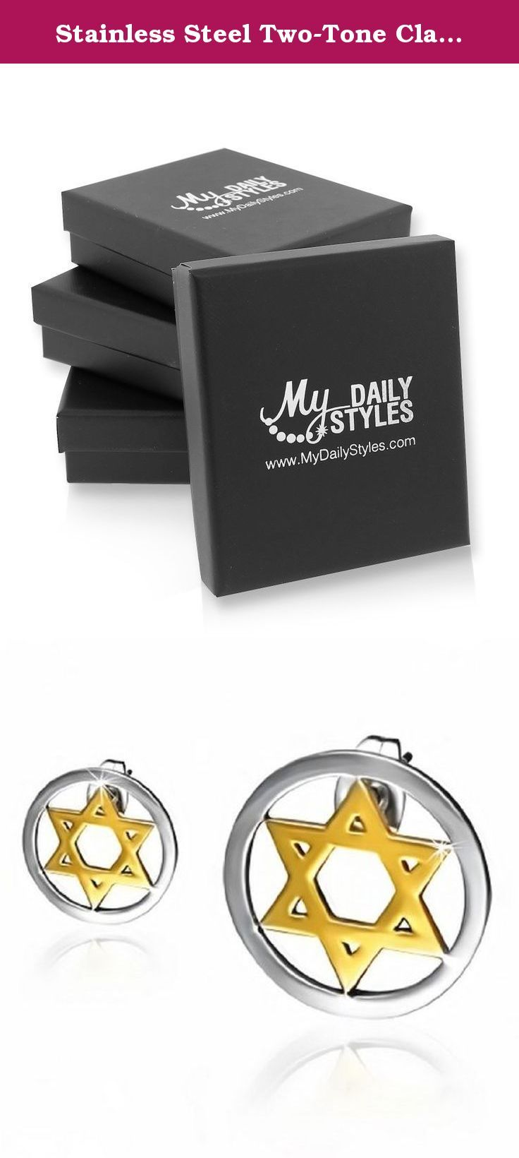 Stainless Steel Two-Tone Classic Jewish Star of David Small Stud Earrings. These earrings are a perfect gift for anyone. Give it to your loved one, or treat yourself for a classic timeless style. These stud earrings are crafted of durable highly polished 100% stainless steel, rhodium and yellow gold plated. The jewelry showcases a simple yet classic design featuring star of David-shaped charms set inside of a circle and shining with the highly polished finish. The earrings secure with...