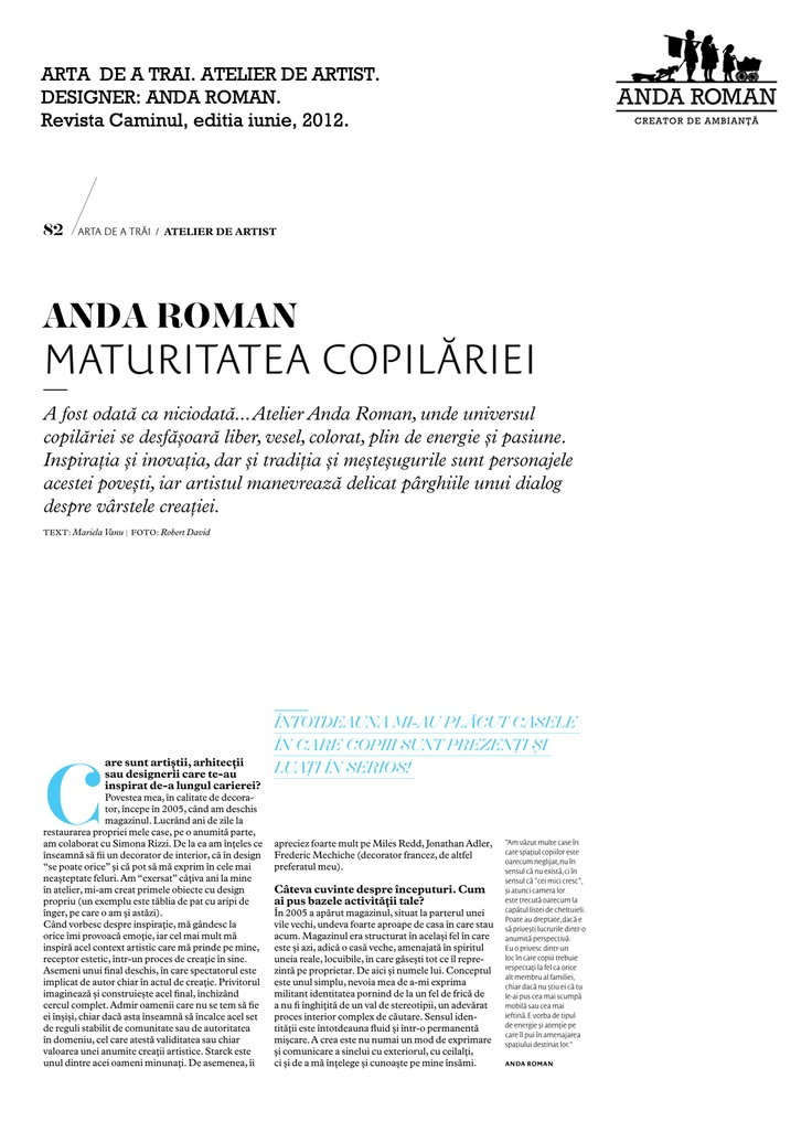 Anda Roman in Caminul Magazine, June issue 2012.