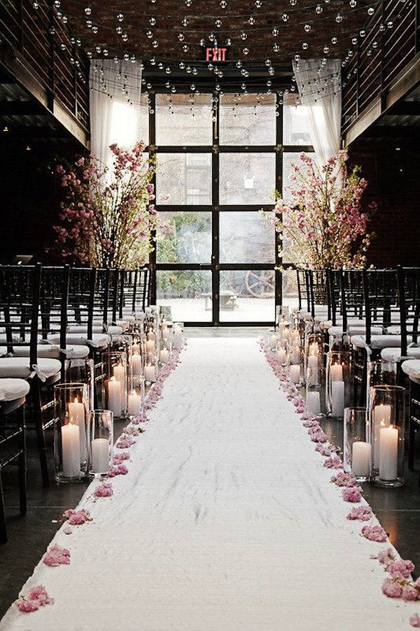 blooms and petals decorated winter ceremonies
