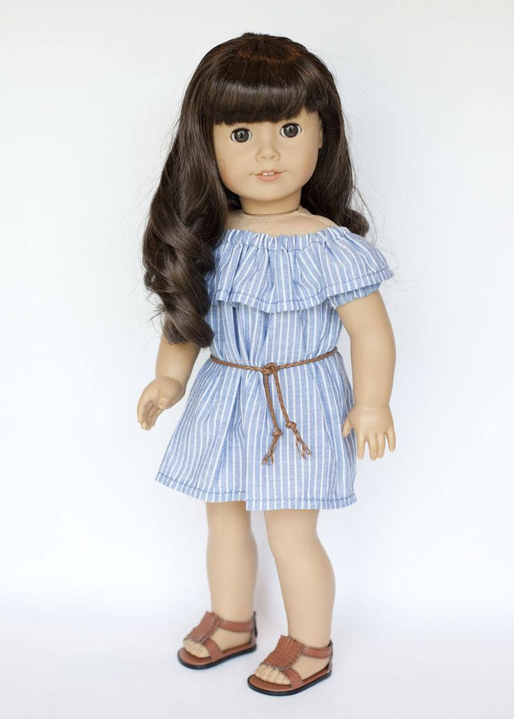 American Girl doll sized off the shoulder dress with belt - blue and white striped by EverydayDollwear on Etsy