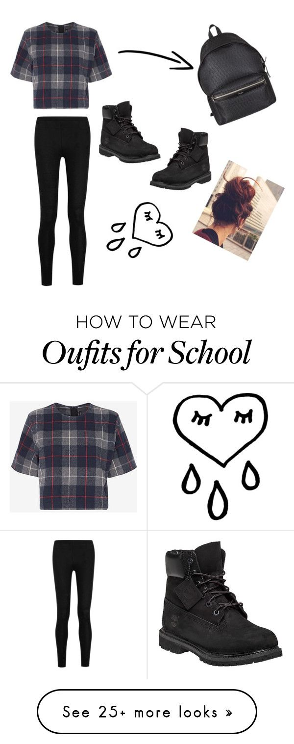 """Casual school outfit❤️"" by beautygirl5365 on Polyvore featuring rag & bone, Donna Karan, Yves Saint Laurent and Timberland"