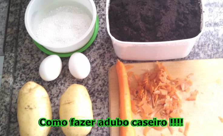 Adubo caseiro com cascas de ovo, cenoura, batata, pepino e borra de café