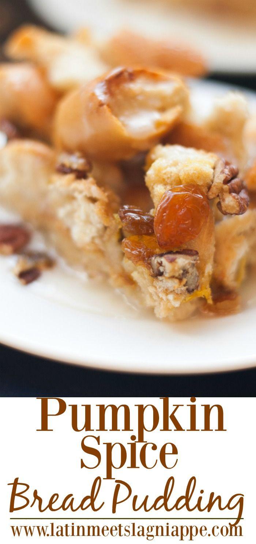 Pumpkin Spice Bread Pudding - a tasty fall dessert treat! via @latinmeetsla