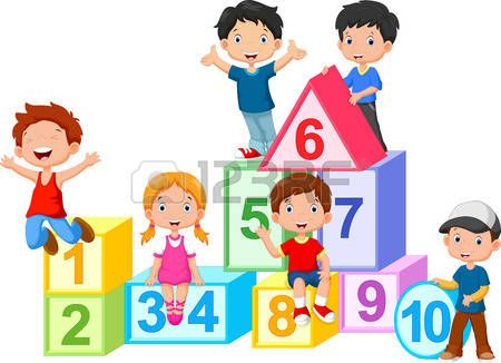 kids drawing: Happy kids with numbers blocks