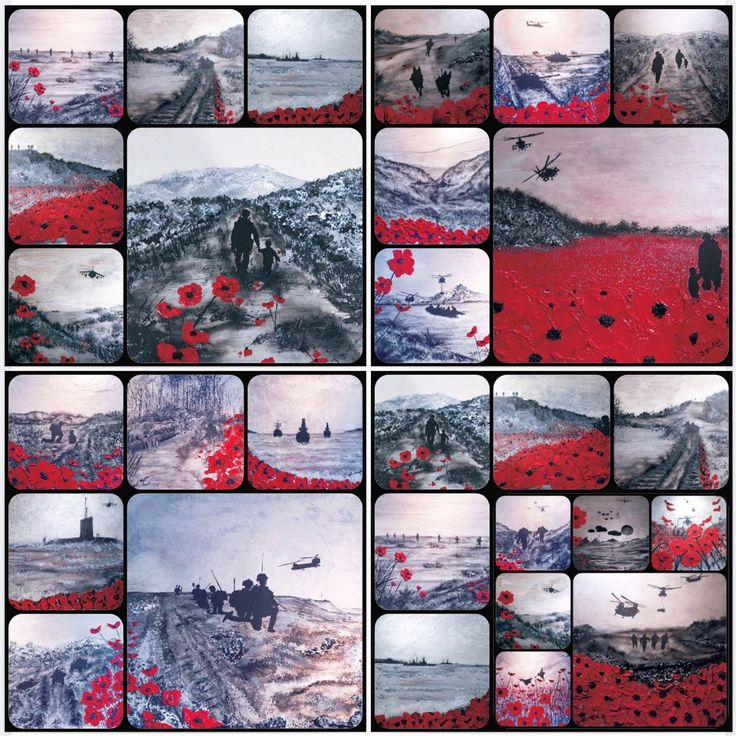 Remembrance Poppy Military Art REMEMBRANCE DAY IS EVERY DAY The 24 piece War Poppy Collection by artist Jacqueline Hurley www.poshoriginalart.co.uk