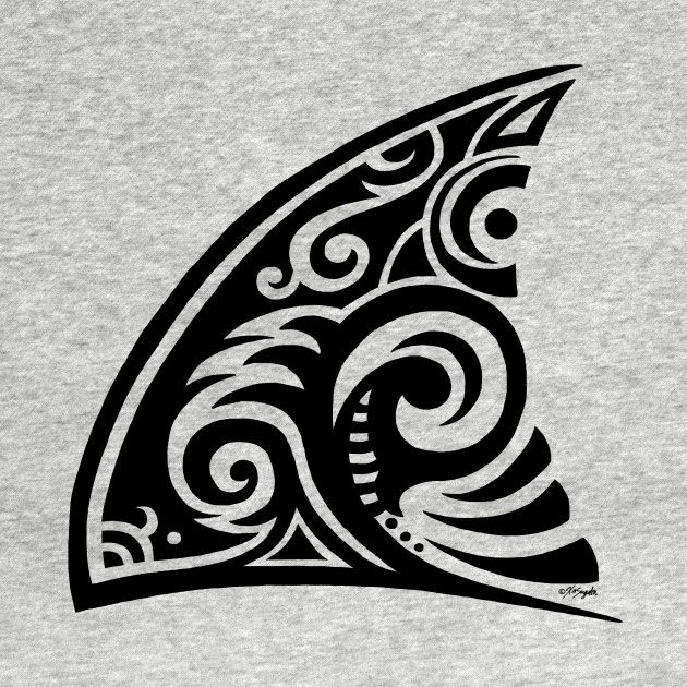 Tribal Art Shark Fin Kids Long Sleeve T-Shirt by   #ArtVixen ~ Tribal Art Shark …
