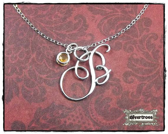 Personalized Initial Birthstone Pendant Sterling Silver Calligraphy Script With Chain and Handmade Clasp