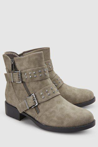 c83a90e2b Our grey biker ankle boots are subtle yet bold enough to make a statement.