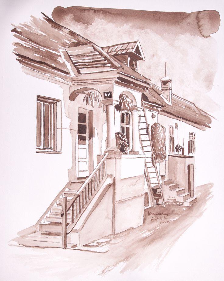 House Mörbisch Watercolor on paper 40x50cm